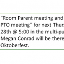 PTO meeting for next Thursday, August 28th @ 5:00 in the multi-purpose room.