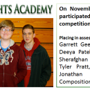 On November 8, the Academic Team participated in the annual JV Challenge competition in Greenville.  Placing in assessment from left to right were:  Garrett Gee, 3rd place Language Arts; Deeya Patel, 1st place Language Arts; Sherafghan Khan, 1st place Science; Tyler Pratt, 6th place Science; and Jonathan Kinnard, 6th place Composition.