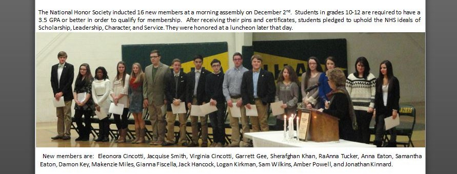 The National Honor Society inducted 16 new members at a morning assembly on December 2nd.