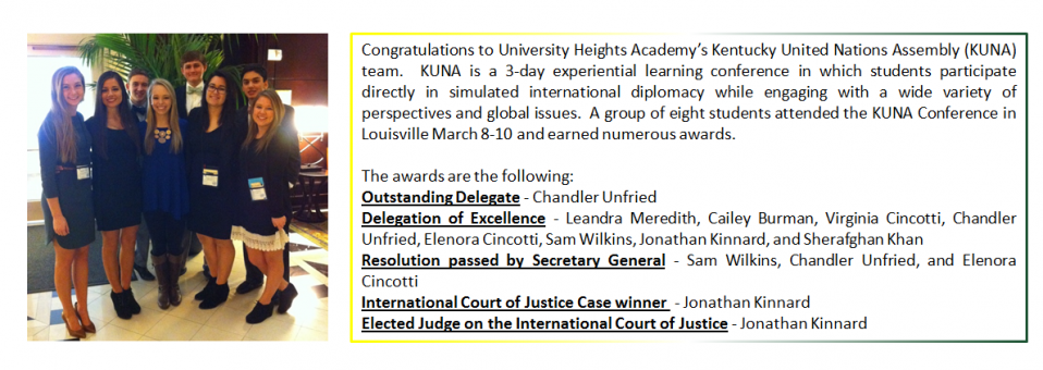 Congratulations to University Heights Academy's Kentucky United Nations Assembly (KUNA) team.