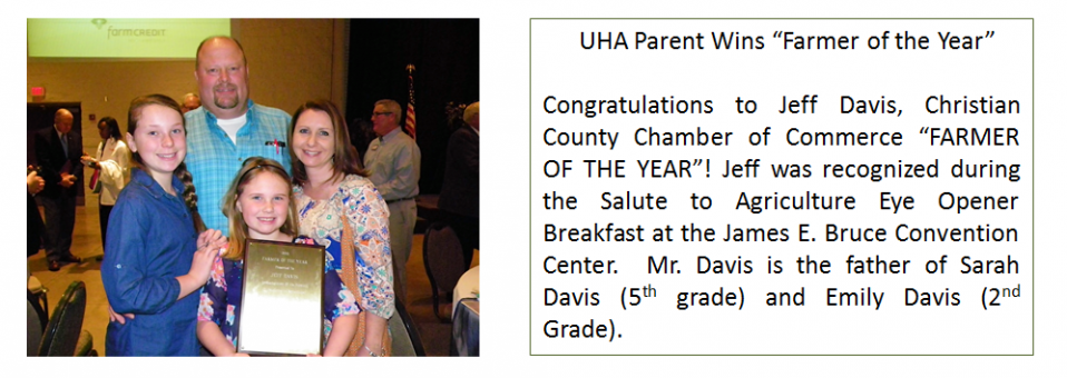 "UHA Parent Wins ""Farmer of the Year"""
