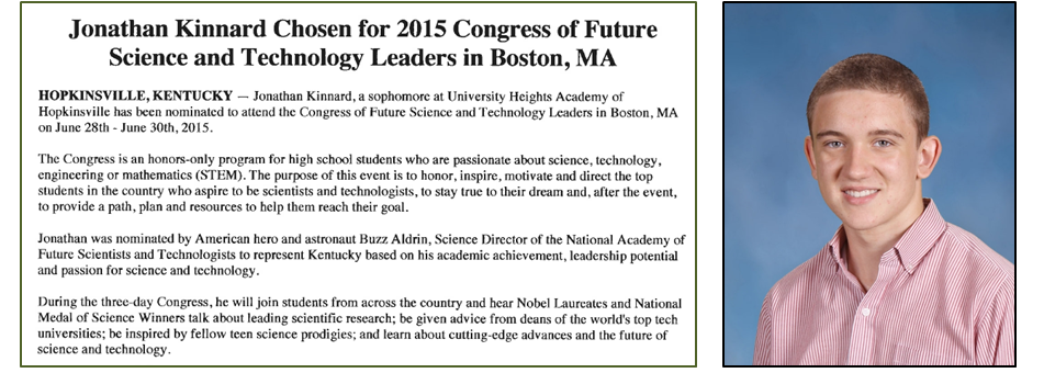 Jonathan Kinnard Chosen for 2015 Congress of Future Science and Technology Leaders in Boston, MA