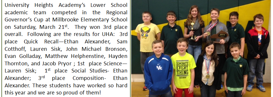 University Heights Academy's Lower School academic team competed in the Regional Governor's Cup at Millbrooke Elementary School on Saturday, March 21st, taking third place overall.
