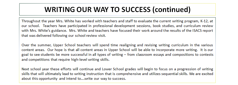 WRITING OUR WAY TO SUCCESS (continued)