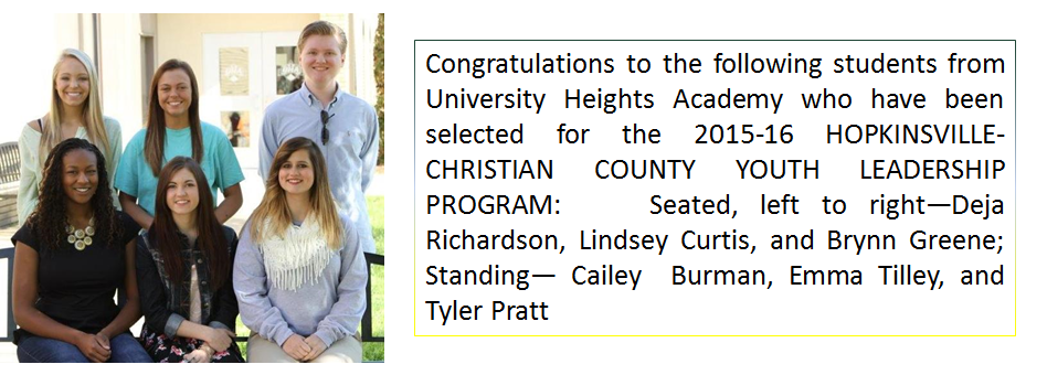 Congratulations to the students selected for the 2015-16 HOPKINSVILLE-CHRISTIAN COUNTY YOUTH LEADERSHIP PROGRAM:
