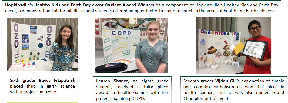 Hopkinsville's Healthy Kids and Earth Day event Student Award Winners As a component of Hopkinsville's Healthy Kids and Earth Day event, a demonstration fair for middle school students offered an opportunity to share research in the areas of health and Earth sciences.