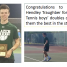 Congratulations to Blake Edmonson and Hendley Traughber for winning the 2nd Region Tennis boys' doubles championship.  We wish them the best in the state competition.