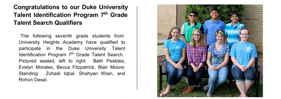 Congratulations to our Duke University Talent Identification Program 7th Grade Talent Search Qualifiers