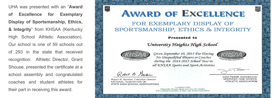 "UHA receives ""Award of Excellence for Exemplary Display of Sportsmanship, Ethics, & Integrity"""