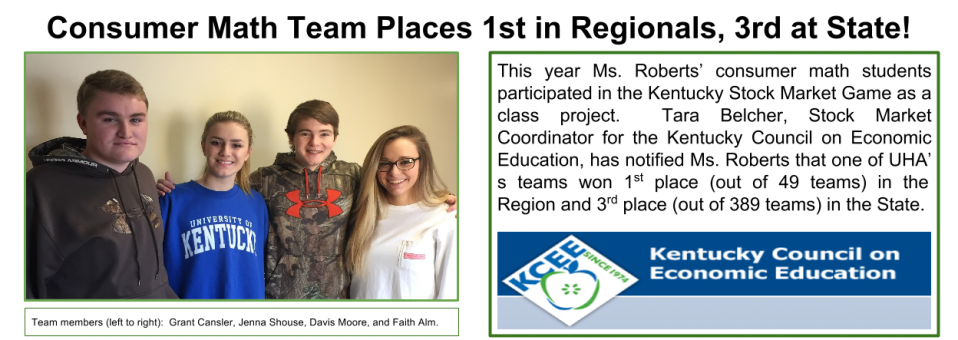 Consumer Math Team Places 1st in Regionals, 3rd at State!