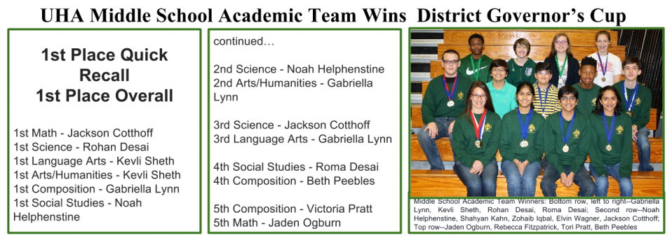 UHA Middle School Academic Team Wins  District Governor's Cup