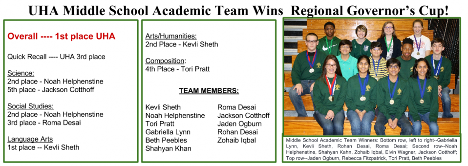 UHA Middle School Academic Team Wins  Regional Governor's Cup!!!