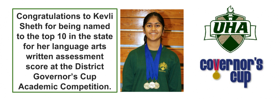 Congratulations to Kevli Sheth for being named to the top 10 in the state for her language arts written assessment score at the District Governor's Cup Academic Competition.
