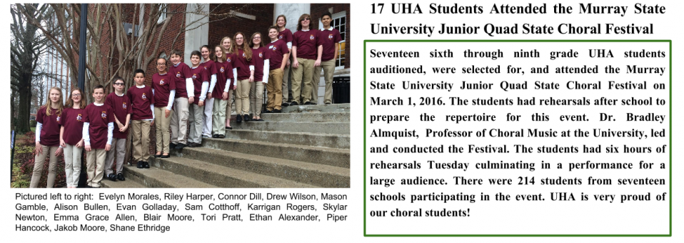 17 UHA Students Attended the Murray State University Junior Quad State Choral Festival