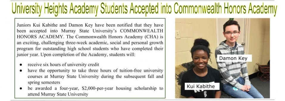 University Heights Academy Students Accepted into Commonwealth Honors Academy