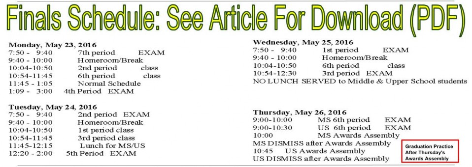 Finals Schedule: See Article Below For Download (PDF)
