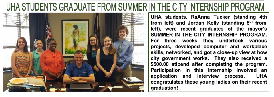 UHA STUDENTS GRADUATE FROM SUMMER IN THE CITY INTERNSHIP PROGRAM