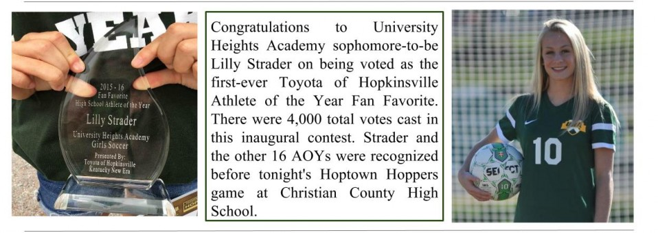 Congratulations to Lilly Strader, Toyota of Hopkinsville Athlete of the Year Fan Favorite!