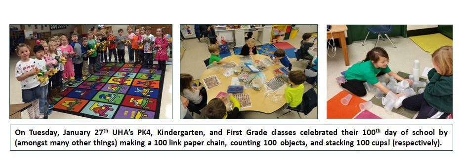 On Tuesday, January 27th UHA's PK4, Kindergarten, and First Grade Classes celebrated their 100th day of school.
