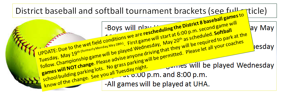 District baseball and softball tournament brackets