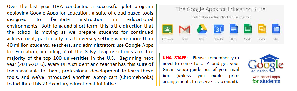 UHA is a Google Education school.